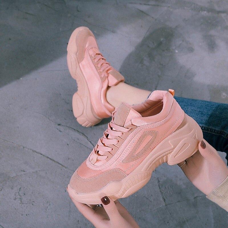 Décontractées Confortable Simple Semelle Printemps Sauvage Chaussures rose Mode Solide 2019 Femmes Couleur PlatesGris Nouvelle Épaisse mvNwn80Oy