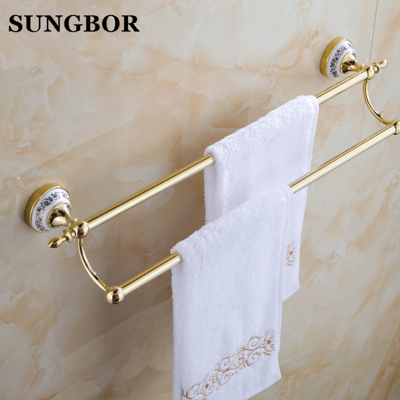 Blue And White Porcelain Towel Rack Ceramic Bathroom Accessories Set Fashion Rustic Bath Towel Rack Gold