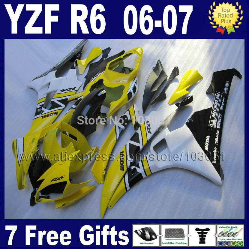 Injection Custom free motorcycle fairings set For Yamaha yzf r6 2006 2007  YZFR6 06 07 YZF600 yellow white body fairing kits injection molding hot sale fairing kit for yamaha yzf r6 06 07 white red black fairings set yzfr6 2006 2007 tr16