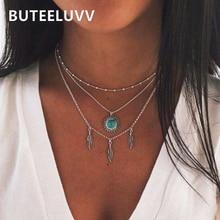 цена на BUTEELUVV Boho Feather Tassel Pendant Necklace Women Bohemian Ethnic Silver Color Triple Layered Chain Necklace Jewelry
