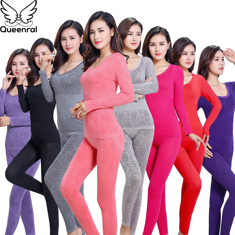 Queenral Sexy Warm Thermal Underwear Women Winter Thermal Underwear Seamless Long Johns Breathable Ladies Slim Underwears Sets