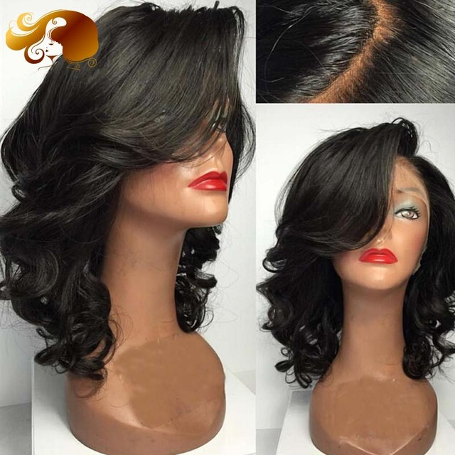 Side Part Glueless Full Lace Human Hair Wigs With Bangs Loose Wave Brazilian Virgin Hair Lace Front Wigs For Black Women