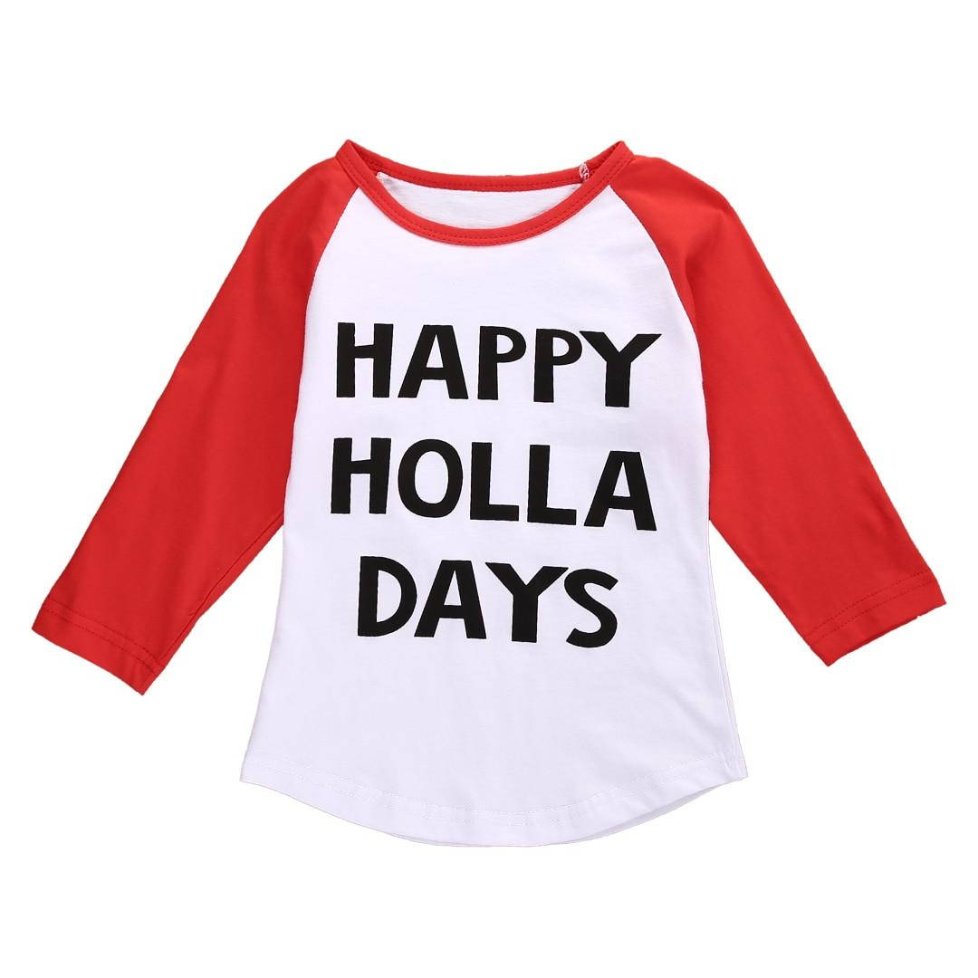 ᗛHappy Holla Days Kids Boys Girls Xmas Long Sleeve Casual T-shirt ...