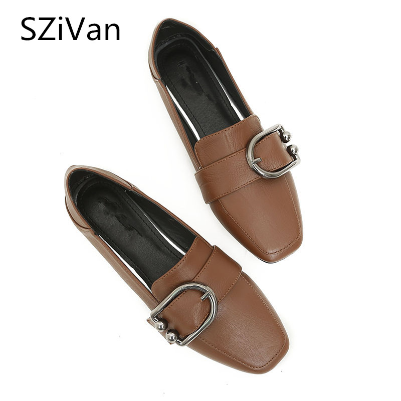 SZiVan High quality Women's flats plus size 33-43 shoes Pu Fashion square Toe metal round buckle Comfortable Women casual shoes fashion women shoes woman flats high quality comfortable pointed toe rubber women sweet flats hot sale shoes size 35 40