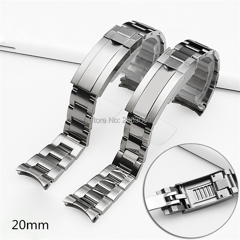 High quality Silver Gold 316L Stainless Steel WatchBand 20mm Solid Band Bracelet with Oyster Lock For