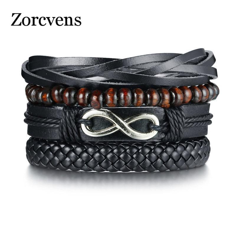 ZORCVENS 4pc/set Wrap Bracelets Men Woman Black Cords Wood Beads Ethnic Tribal Bracelet Leather Wristbands