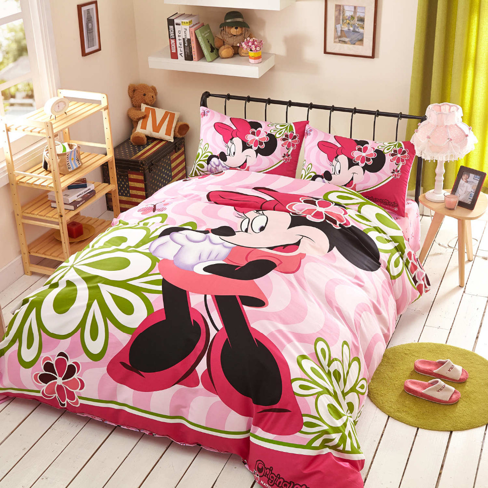 compare prices on minnie mouse queen online shopping buy low mickey minnie mouse cartoon comforter duvet cover pink girls bedding set 3 4 5pcs