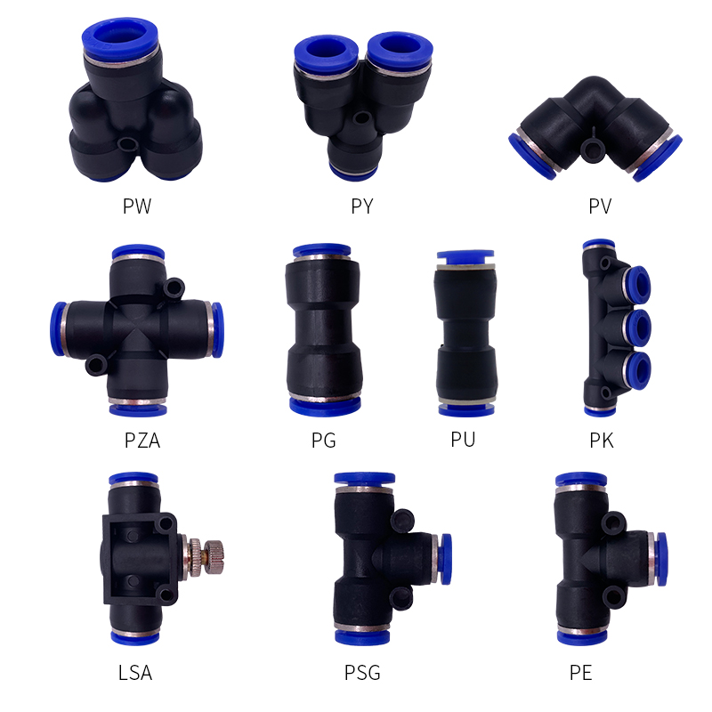 1PCS T/Y/L/Straight Type Pneumatic Push Fittings Air/Water Hose Tube Quick Connector 4 To 16mm PW/PY/PV/PZA/PG/PU/PK/LSA/PSG/PET
