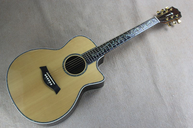 Top Quality solid folk Chaylor 914CE Burlywood acoustic guitar real shell Mosaic body Ebony fingerboard guitar 14815