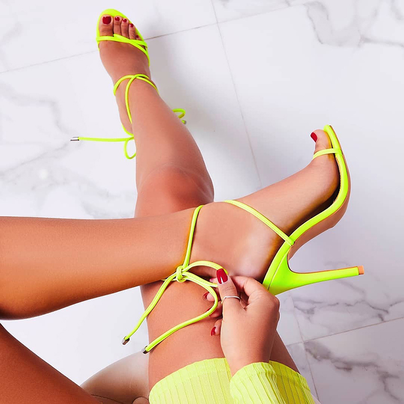 Sandals Pumps Heel Lace Ankle-Strap Candy Party Color-Point-Toe High-Thin Summer European