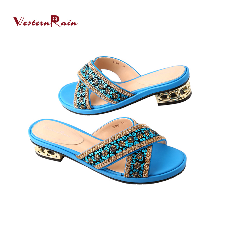 WesternRain Mid Heels Women Slippers Blue Leather high quality Large Size Leisure Comfortable Rhinestones Sandals 016-5 leisure women s sandals with rhinestones and weaving design