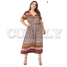 цены на CUERLY Boho print long plus size women dress V neck short sleeve loose ethnic holiday dresses Summer vintage beach dress 2019 в интернет-магазинах