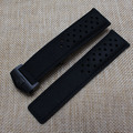 22 mm Cowhide Leather smooth Black Watchband With black buckle deployment straps for fashion watches mens hour accessories new