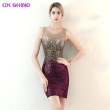 short evening dress CX SHINE Bling wine navy sequin Gradient color beading prom party dresses robe de soiree Vestido все цены