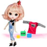 Хорошее качество Блит 30 см 12 ''объемная совместное Кукла свободно подгонять BJD куклы с джинсы комбинезон и модные короткий завиток волосы го