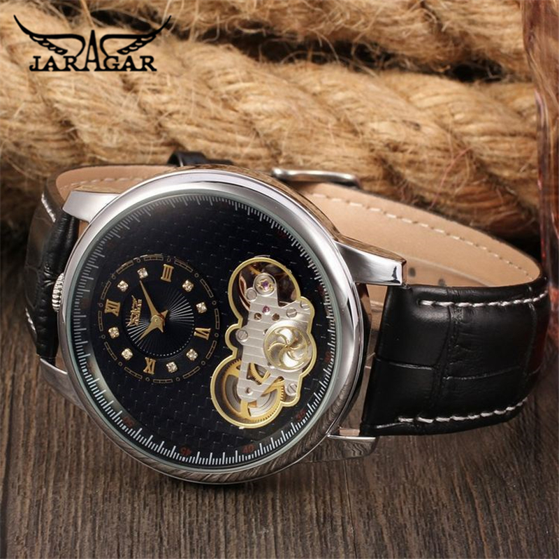 Jaragar Top Brand Tourbillon Automatic Mechanical Diamond Dial Clock Wtaches Men Classic Luxury Business Leather Wristwatch Uhr jaragar top brand tourbillon automatic mechanical diamond dial clock wtaches men classic luxury business leather wristwatch uhr