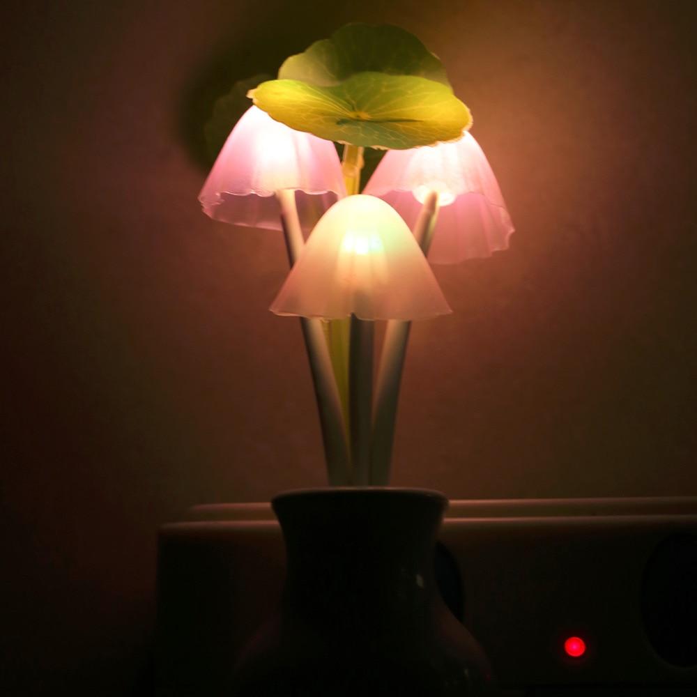 fashion us plug mushroom wall wall socket light controlled sensor led night light light. Black Bedroom Furniture Sets. Home Design Ideas