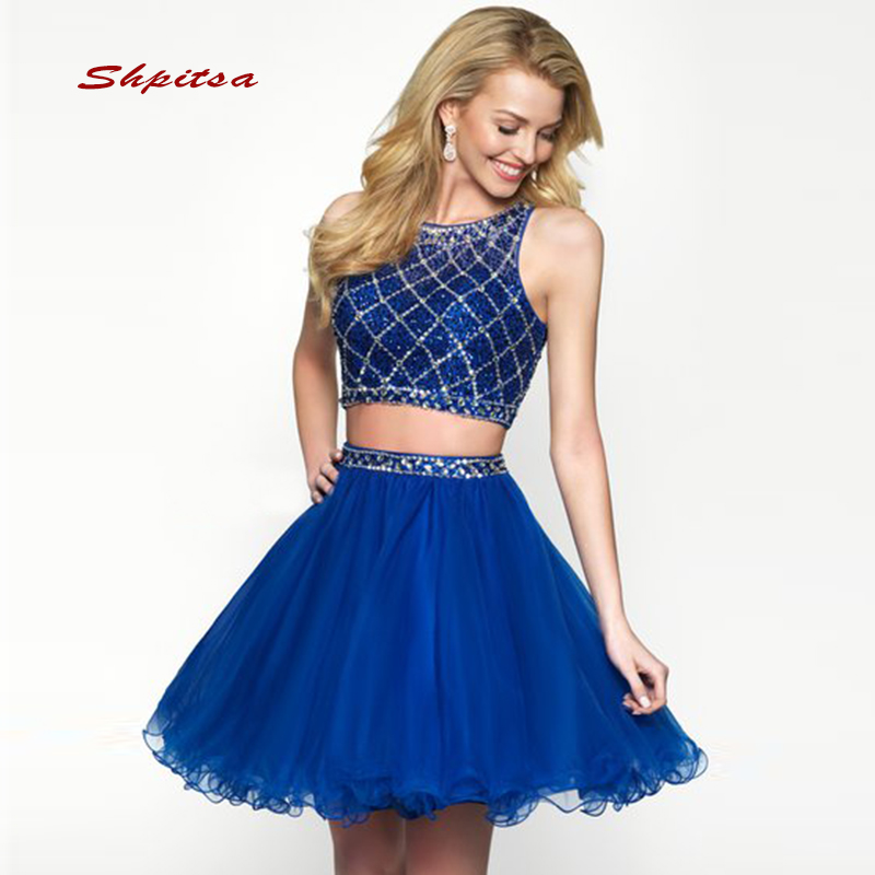Royal Blue Short Cocktail Dresses Women Mini Luxury Homecoming Prom Graduation Party Dresses Vestido De Festa Curto Coctel