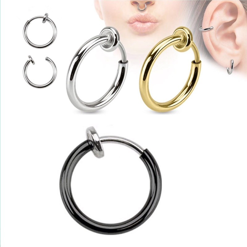 Sale 2pcs Invisible No Ear Hole Earrings Clip Nose Ring Belly Button Ring For Punk Wind Jewelry Accessories