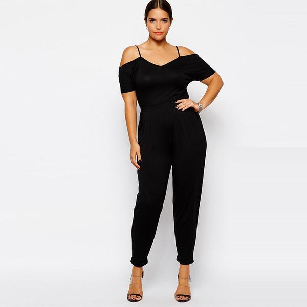 2ec249ead37 Plus Size New Solid Sexy Off Shoulder Rompers Women Jumpsuits Casual High  Waist Pants Women One Piece Overalls