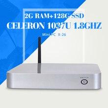 X26 C1037U 2 г оперативной памяти 128 г ssd настольный компьютер компьютер чехол тонкий клиент с hdmi с поддержкой видео высокой четкости тонкого клиента