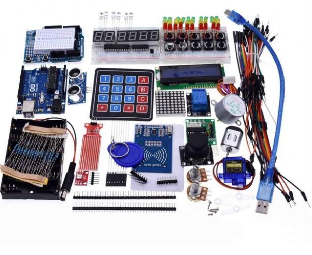 Kit de démarrage pour arduino Uno R3-Uno R3 platine de prototypage et support moteur pas à pas/Servo/1602 LCD/fil de démarrage/UNO R3 avec boîte de vente au détail