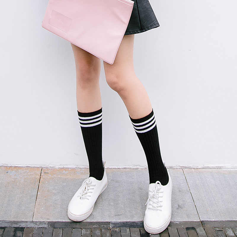 c64635c3200c7 ... Anime Cosplay Stockings Black White Blue Red Stripe Stocking Japanese  Cartoon Stockings For Women Girls Cotton ...
