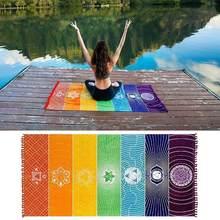 02ffb2a218a4 Nova Poliéster Boemia Cobertor 7 Chakra Colorido Mandala Tapeçaria  Tapeçaria da Índia Rainbow Stripes Praia Viagem Yoga Mat 2 Ta.