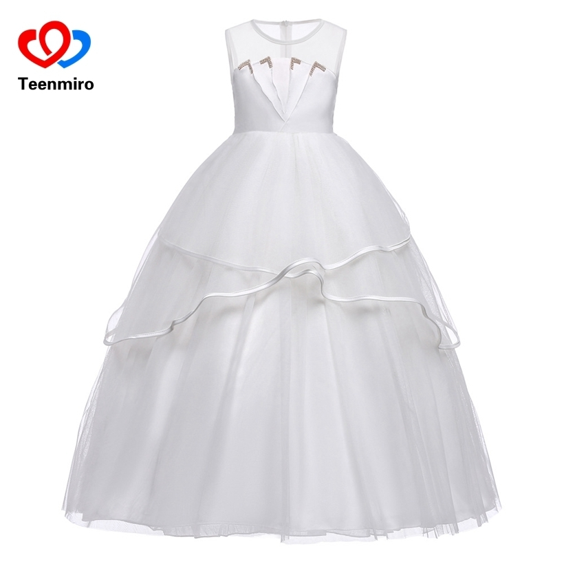 Pretty White Dress New Bow Girl Long Dresses 2018 Lace Princess Elegant Communion Pageant Dresses for Girls Wedding Party Gowns 2018 party girls dresses lace bow wedding birthday dresses for girls teenager ball gowns princess costume girl frock bride 6 15y
