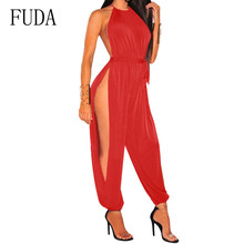 FUDA Women Sexy Trousers with Holes on Both Sides Jumpsuits Casual Rompers Sleeveless Hollow Out Female Nighclub Playsuits