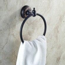 Опт и Розница твердое латунное кольцо для полотенца масло втирают бронзовый Держатель полотенец круглый цветок резные настенные