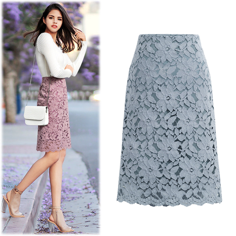 Image 2 - 2020 Fashion Lace Women Skirt Large Size Elastic Waist A line Slim Female Skirts Plus Size SkirtsSkirts   -