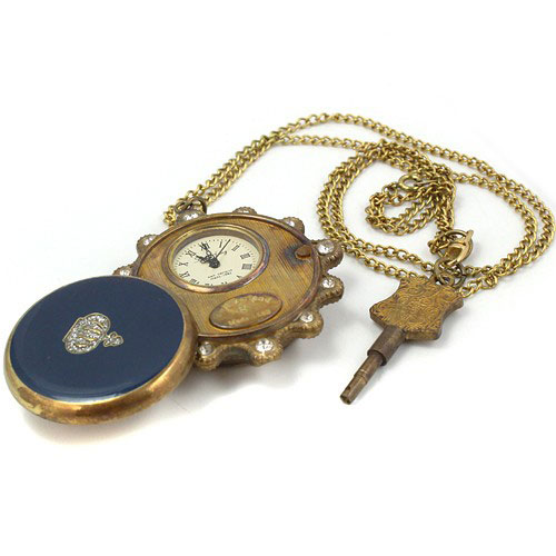 лучшая цена wholesale Blue Gemstone Copper Unisex Pocket Watch Necklace Key freeship T688