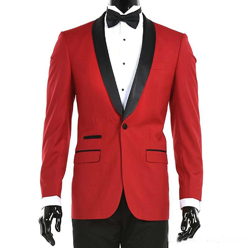 Red Dinner Party Men Suits Black Shawl Lapel Slim Fit One Button 2019 Two Piece Wedding Groom Tuxedos Best Man Jacket Pants