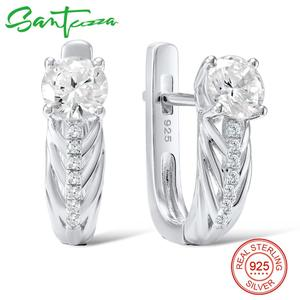 Image 2 - Santuzza conjunto de jóias para as mulheres puro 925 prata esterlina brilhante branco zircônia cúbica anel brincos conjunto simples moda jóias