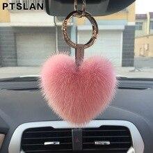 Ptslan Mink Fur Heart Keychains Pendant Car Keychain Bag Charm Jewelry Play Fur Accessories Natural Mink