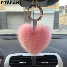 Ptslan Mink Fur Heart Keychains  Pendant Car Keychain Bag Charm Jewelry Play Fur Accessories Natural Mink Skin Bunny