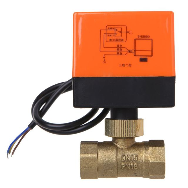 صمام كروي نحاسي بمحرك كهربائي DN15 التيار المتناوب 220 فولت ثنائي الاتجاه 3 أسلاك مع مشغل