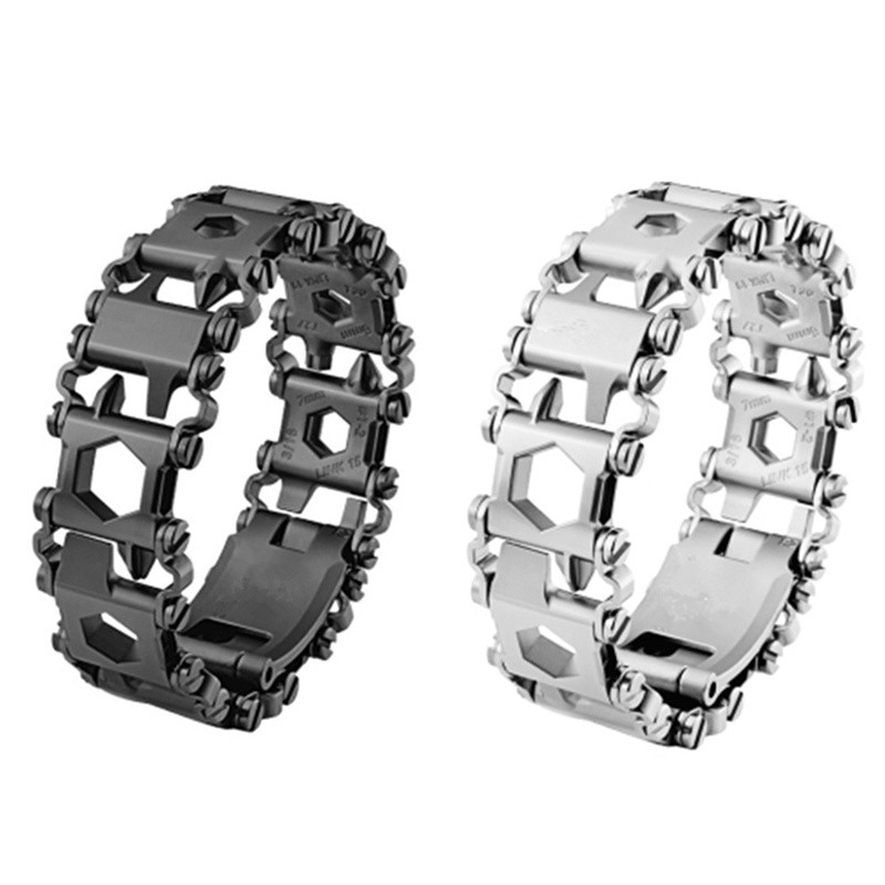 Kindsproducts Bracelet multi-outils en acier inoxydable 29 en 1 Bracelet multi-fonction (noir/argent)