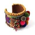 Novos Fornecedores de Jóias pulseira artesanal tecelagem colorido pop Europeu ampla pulseira Boemia para as mulheres ciganas