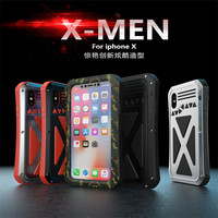 R JUST X MEN for iphone8 8Plus Waterproof Shockproof Gorilla Glass Metal Case Cover for iphoneX Three Proofing Case