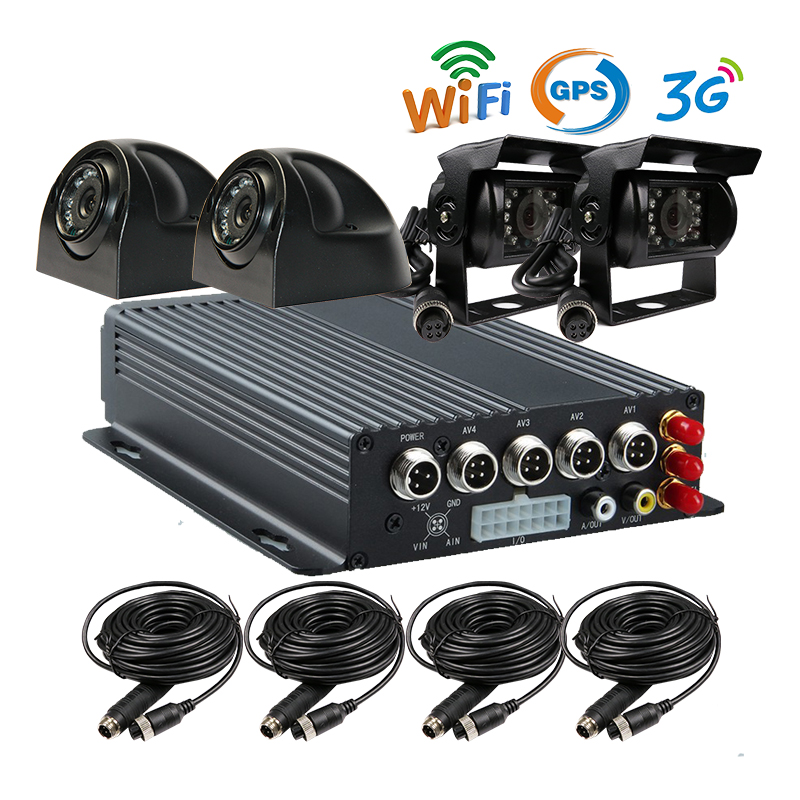 Free Shipping 4 CH I/O SD 3G GPS Track WiFi Mobile Vehicle Car DVR Recorder System + Car Rear View Camera for Duty Car Truck Van free shipping 4ch gps 3g track h 264 i o 256gb sd car mobile dvr recorder mdvr realtime monitor for phone pc for truck van