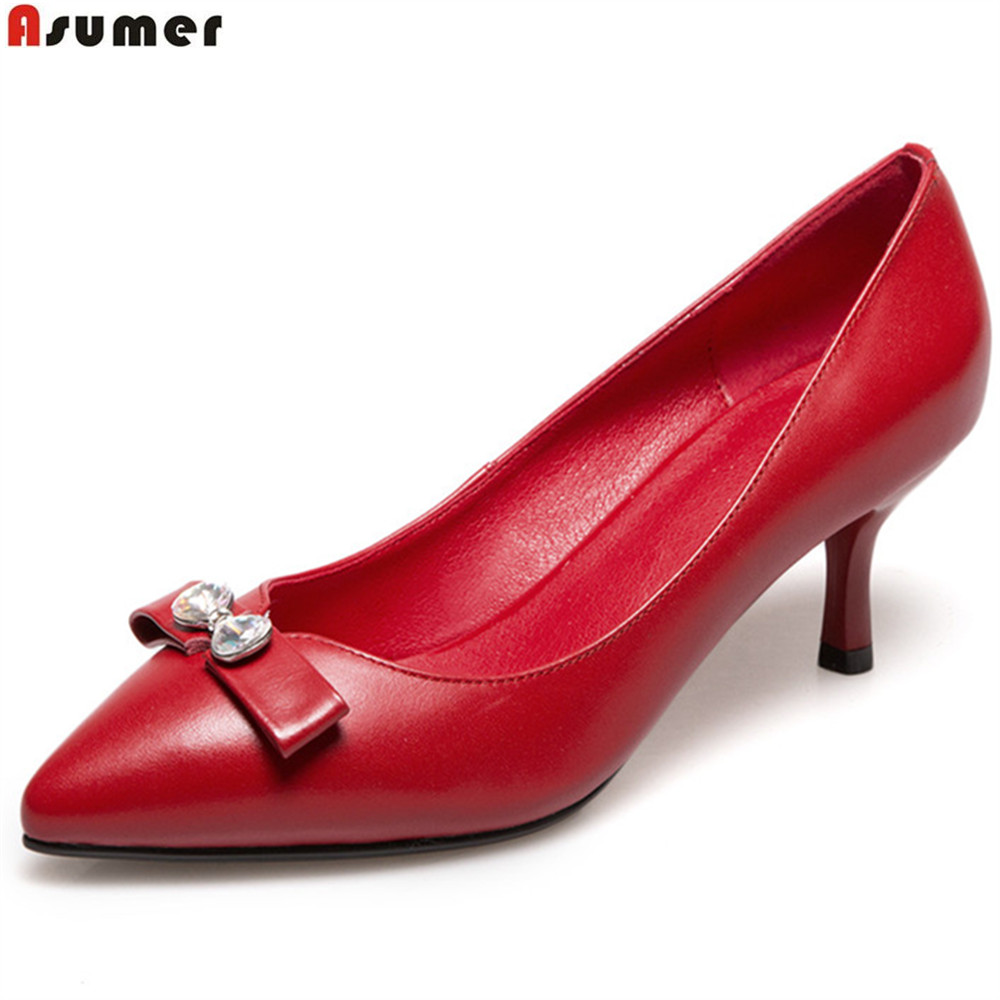 ASUMER fashion spring autumn women pumps pointed toe shallow genuine leather shoes thin heel cow leather high heels shoes lapolaka cow genuine leather mix color spring summer pointed toe women shoes pumps thin high heels shoes woman