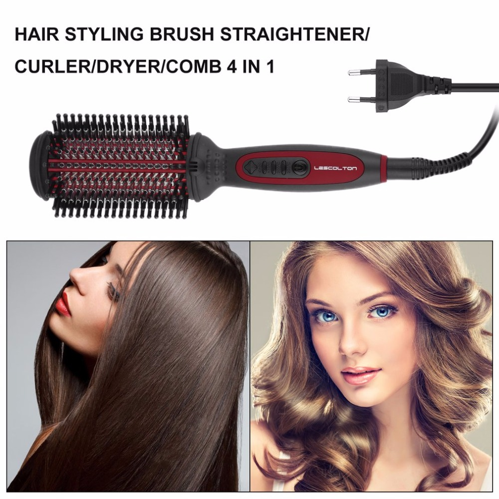 Professional Hair Styling Brush Straightener/Curler/Dryer/Comb 4 in 1 (European Regulation) For Female and Male easy use