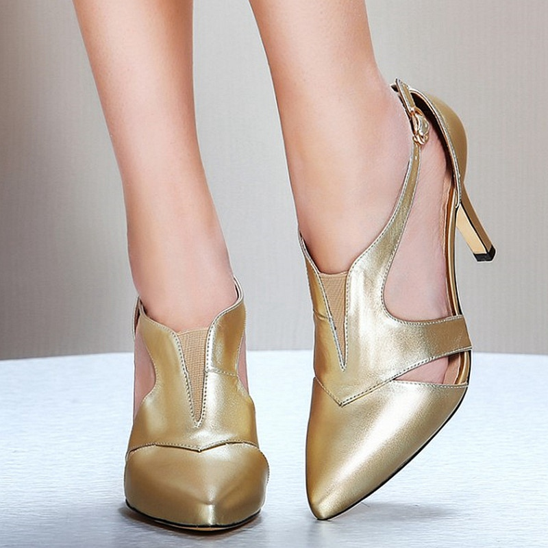 Black White Gold Cowhide Uppers Banquet Shoes For Women Sexy Fashion Pointy Toe Buckle Thin High