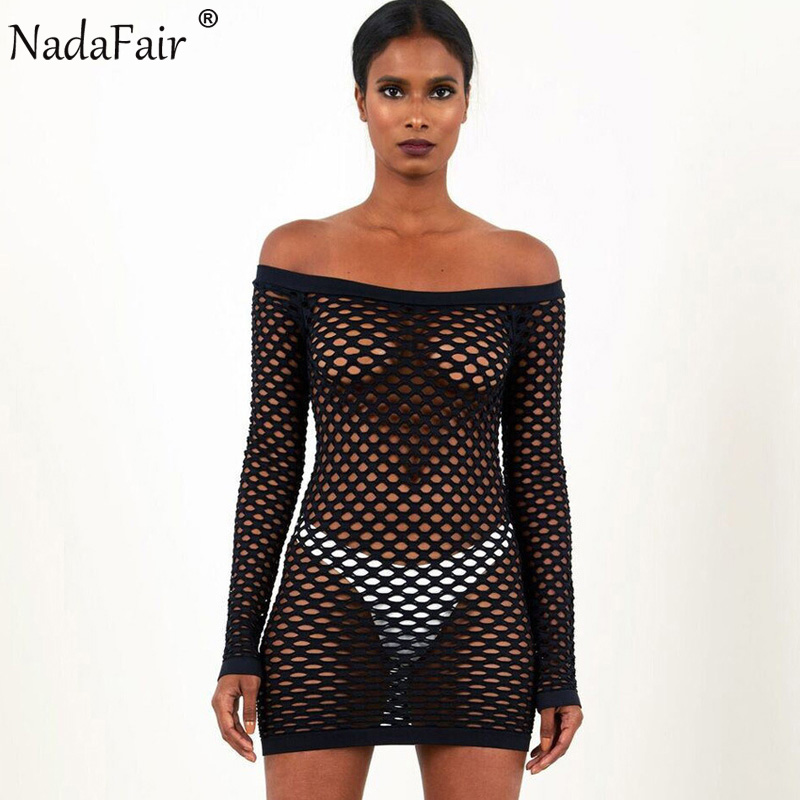 a2f416d395f Buy Nadafair Long Sleeve Shoulder Hollow See Mesh Sexy Club Dress Fashion  Slash Neck Mini Party Dresses White Black - Factory To Customers store at  ...