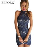 BEFORW Autumn Sexy Lace Women Dress Vintage Printing Dress Red Blue Beautiful Halter Neck Party Dresses