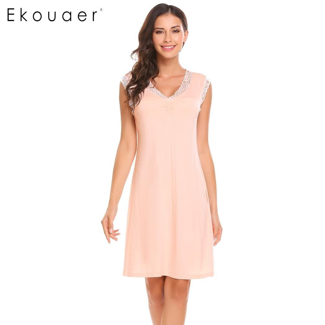 Ekouaer Sleepwear Womens Casual Cute Comfort Sleeveless Nightdress Summer Lace Patchwork O-Neck Nightgown Tank Dress