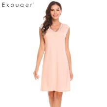 Ekouaer Sleepwear Womens Casual Cute Comfort Sleeveless Nightdress Summer Lace Patchwork O Neck Nightgown Tank Dress