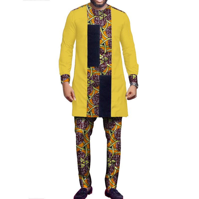 African Suit Men African Print Patchwork Tops And Pants Set Men Long Sleeve Dashiki Shirt Trouser Bazin Riche African Top WYN527
